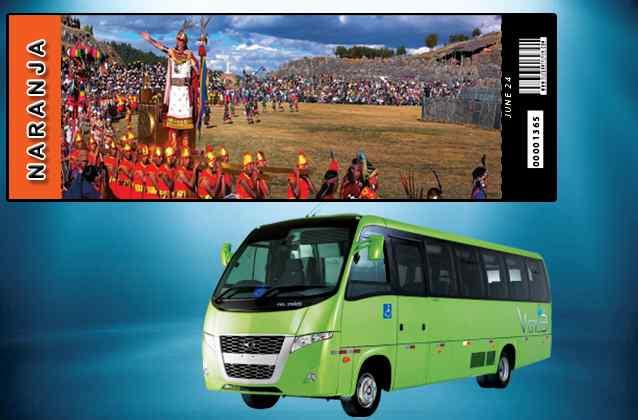 Inti Raymi 2020 ticket. Orange section + tour bus